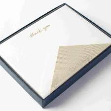 die cut edge gold thank you flat cards by crane co set of 10