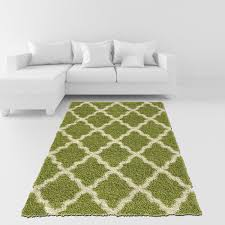 amazon com soft shag area rug 5x7 moroccan trellis green ivory