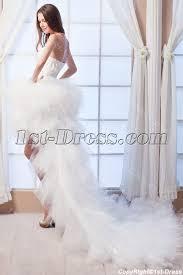 Wedding Dress With Train 2014 Feather Luxury Short Summer Beach Wedding Dress With Train