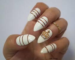 white stiletto nails etsy