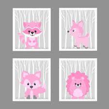 Raccoon Nursery Decor Woodland Animals In Pink Raccoon Hedgehog Fox Deer Customize