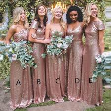 gold bridesmaid dresses a line one shoulder floor length gold sequined bridesmaid