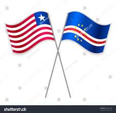 Usa Flag Cape Liberian Cabo Verdean Crossed Flags Liberia Stock Vector 592518848