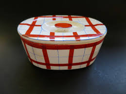 art deco kitchen canister lidded storage container white red blue