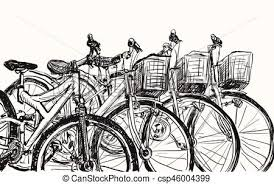 eps vectors of sketch row of bicycle for sell or rent free hand