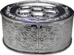 seder matzah 3 tier silver plated matzah holder and seder plate 11052