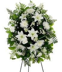 funeral flower white standing spray at from you flowers