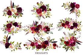 burgundy flowers boho bordo watercolor flowers illustrations creative market