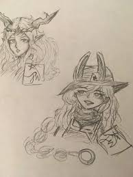 a sketch of gwen and lyra vainglory for all amino