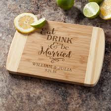 cutting board personalized eat drink be married personalized bamboo cutting board
