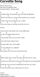 the corvette song country song lyrics with chords corvette song