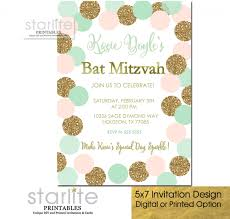 polka dot invitations bat mitzvah invitation polka dots blush pink mint gold glitter