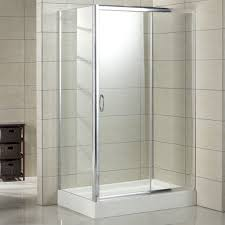 bathroom square corner shower enclosure with grey tiled wall