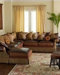Leather And Tapestry Sofa Leather And Fabric Sectional Sofas Foter