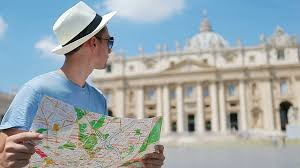 Vatican City Map Young Man With City Map In Vatican City And St Peter U0027s Basilica