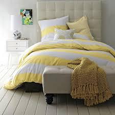 White Stripe Duvet Cover Striped Duvet Cover And Shams In White Citron