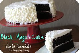 black magic cake with white chocolate buttercream icing the