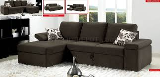 Modern Fabric Sectional Sofa Charcoal Brown Fabric Modern Sectional Sofa W Pull Out Bed