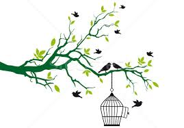 tree with birds and birdcage vector vector illustration beaubelle