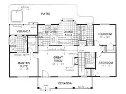 Floor Plan Of A Bedroom Country Style House Plan 3 Beds 2 Baths 1412 Sq Ft Plan 18 1036