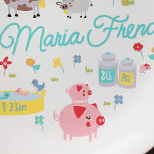 baby birth plate personalised farmyard baby birth plate by ethel and co