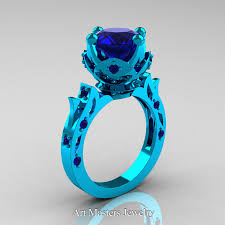 blue rings images Modern antique 14k turquoise gold 3 0 carat blue sapphire jpg