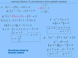 solve quadratic equations 4 teach me how to factor