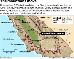 Sierra Nevada Mountains Map Sierra Rises Quakes Erupt As Central Valley Aquifer Drained Sfgate