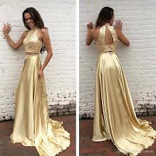 formal dresses 2017 two pieces gold prom dresses beaded high neck