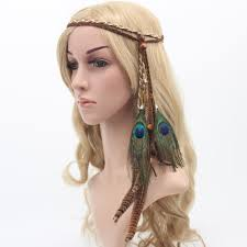 bohemian hair accessories bohemian peacock feather braided headband hair accessories