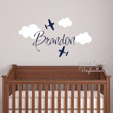 Nursery Stickers Custom Name Wall Sticker Kids Room Baby Nursery Airplane Name Wall