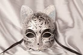 cat masquerade mask luxury venetian cat mask with swarovski crystals gatto fu silver