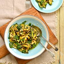 cuisin courgette chargrilled courgette salad with lemon and basil the circus