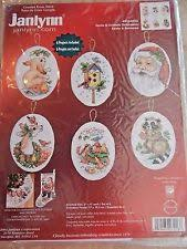 janlynn counted cross stitch kit set of 6 santa animals ornaments