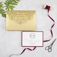 Folded Wedding Invitations Classic Gold And Burgundy Pocket Laser Cut Wedding Invitations
