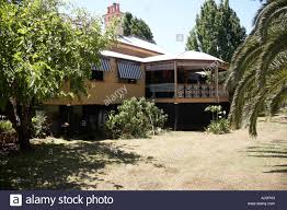 exterior of old colonial style queenslander wooden house building