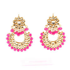 chandbali earrings kundan chand bali earrings pink sahiba accessories