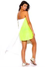 shop neon yellow green chiffon cape high low strapless mini sun dress