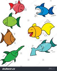 seven funny looking cartoon fish redfish stock vector 1326710