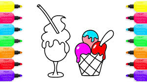 ice cream coloring pages drawing and art colours for kids with