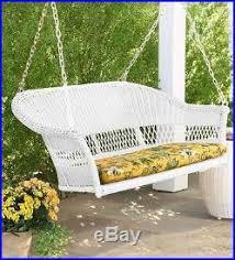 Rattan Swing Bench White Garden Swings