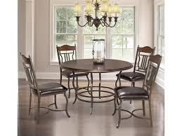bernards midland 5 piece metal wood round dining table set royal