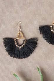 thread earrings pink thread earrings