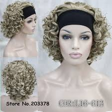 headbands for hair thinning synthetic hair perruque fake short kinky curly blonde black wig