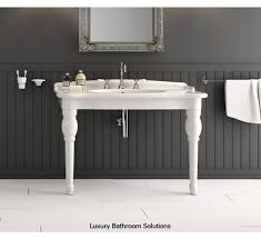 Bathroom Sink Console Table Vessel Sinks Mason Porcelain Console Sink With Brass Stand