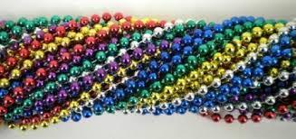 mardi gras beaded necklaces 33 inch 07mm metallic 6 color mardi gras 6 dozen 72
