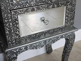 two drawer bedside table french vintage style silver embossed mirrored glass two drawer