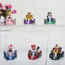 free shipping super mario bros kart pull car figures 6pcs