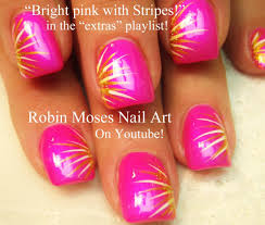easy nail art for beginners diy neon pink stripes design