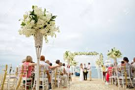 Wedding Ceremony Decorations Soft Focus Of Beautiful Flower Decoration In The Beach Wedding